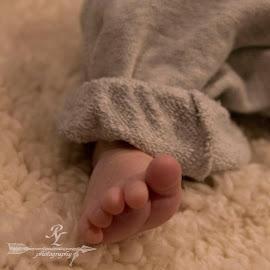 David's foot.1 by Rebecca McLachlan - Babies & Children Hands & Feet ( blanket, foot, toes, baby, skin )