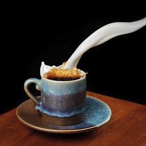 milk please  by Earl Wyant - Food & Drink Alcohol & Drinks ( cup, splash, milk, coffee )