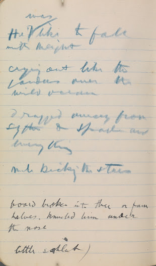Notes of phrases heard on 1905 visit to Mountain Stage, including one—'mule kicking the stars'—subsequently used in 'Playboy'. Synge differentiated the phrases heard from those he made up by adding the initials 'JMS' to the ones he coined. (1/2)