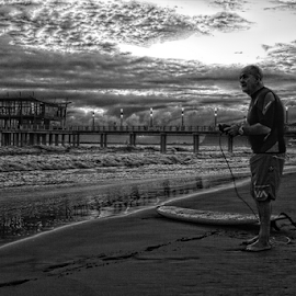 Time to surf by Gavin du Plessis - Black & White Landscapes ( pier, ocean, surf,  )