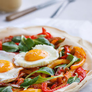 Filo Pizza with Egg and Peppers