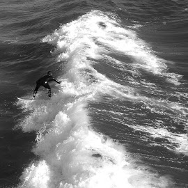 Catching the Big One by Eric Michaels - Sports & Fitness Surfing ( water, wild, splash, black and white, waves, obstacle, pacific ocean, ocean, confrontation, surfer, wave, surf, man, athlete )