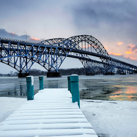 Over the River by John Witt - Buildings & Architecture Bridges & Suspended Structures ( grand island birdge, snow, dock, river )