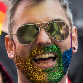 Pride # 2 by Simon Matthews - People Portraits of Men ( colour, face, beard, smile, teeth, glitter )