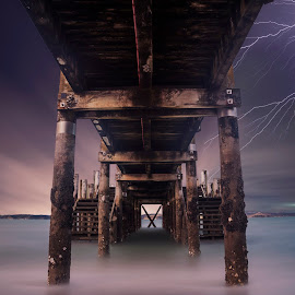 A moody night at a Beach ... by Anupam Hatui - Buildings & Architecture Bridges & Suspended Structures ( mood, weather, night, bridge, landscape )