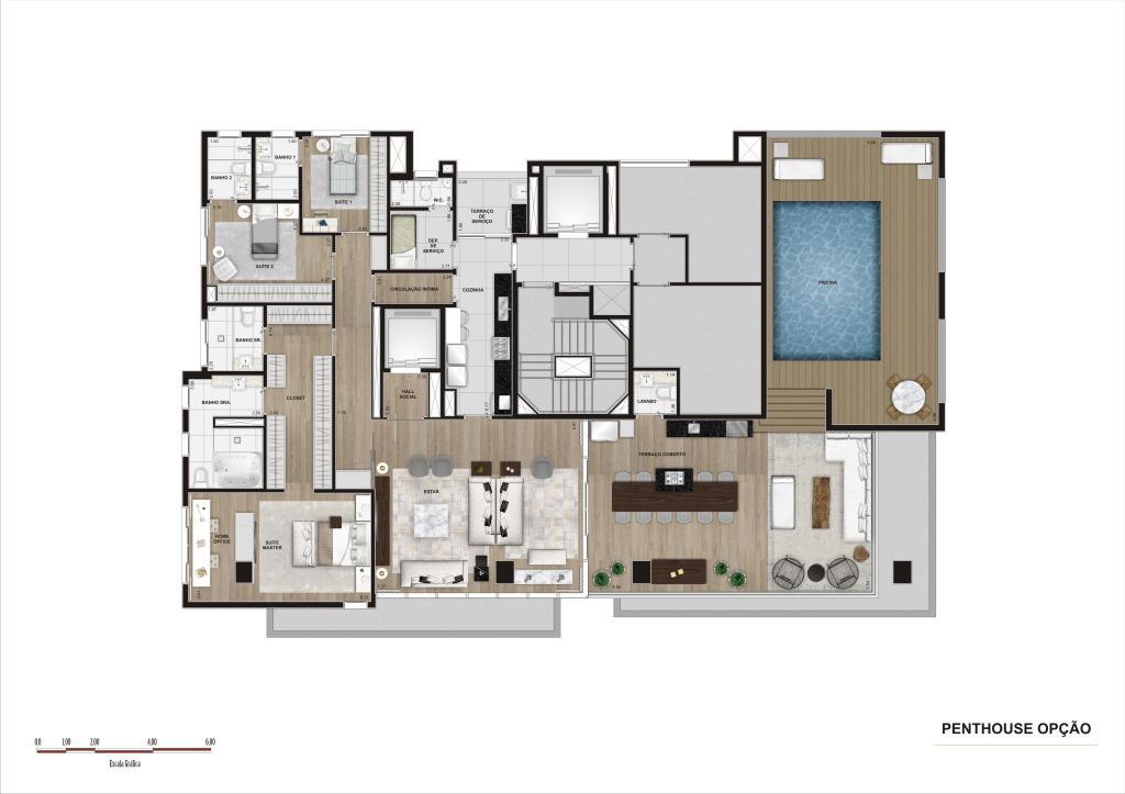 Planta Penthouse Opção - 315 m²
