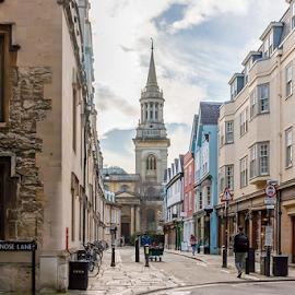 Brasenose Lane, Oxford by Jackie Matthews - City,  Street & Park  Street Scenes ( church, street, oxford, shopping )