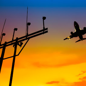 Flying Through the Sunset by Goestie Rama - Transportation Airplanes