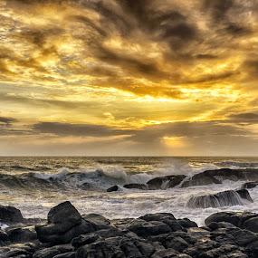 by Neelakantan Iyer - Landscapes Sunsets & Sunrises ( clouds, beaches, vizhinjam, sunset, lighthouse, trivandrum, india, kerala )