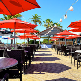 Red Shade by Lynn Kirchhoff - Artistic Objects Furniture ( anna maria island, umbrellas, red, outdoor restaurant, shade,  )
