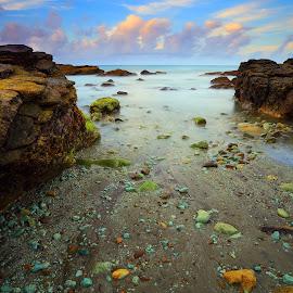 Green rock beach... by Eddy Due Woi - Landscapes Beaches