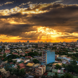 One Cloudy Afternoon by Joey Rico - City,  Street & Park  Skylines ( clouds, afternoon, sunset, cloudy, rains, sun, city )