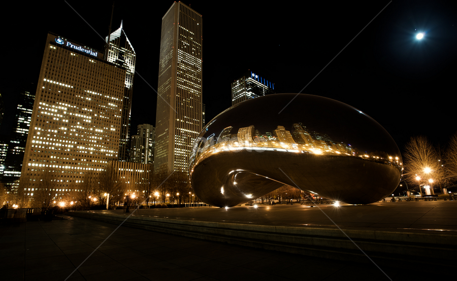 The Bean, Chicago at Full moon  by Benjamin Arthur - Buildings & Architecture Statues & Monuments ( skyline, illinois, bean, photographer, benjaminarthur.com, architecture, chicago, downtown, photography, city )