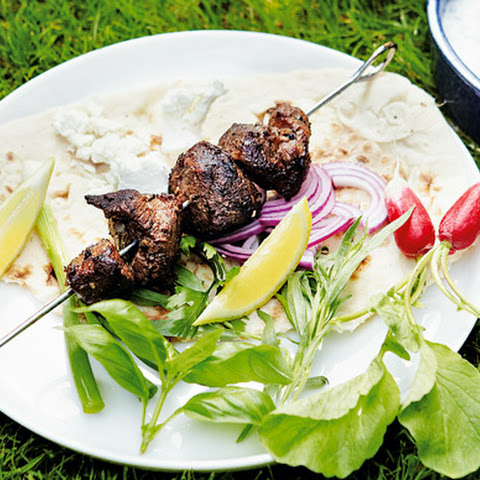 Barbecued Lamb Kebabs With Sabzi Khordan