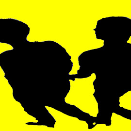 waling by Dean Moriarty - People Couples ( two, walking, yellow, black, shadows, together )