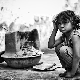Her thinking  by Ayush Phillip - Black & White Portraits & People ( travel photography, street, traveling, girl, travel, street photography )