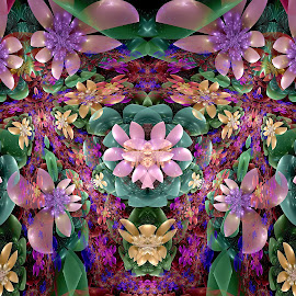 Juliascope Flowers by Peggi Wolfe - Illustration Abstract & Patterns ( abstract, wolfepaw, jwildfire, gift, unique, bright, illustration, fun, digital, print, décor, pattern, color, unusual, fractal, flower )