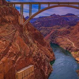 Hoover Dam Bridge by Izzy Kapetanovic - Buildings & Architecture Bridges & Suspended Structures ( mountains, hoover dam, nevada, arizona, bridge, landscape, river )