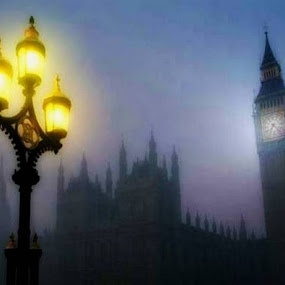 LONDON LIGHT by Anthony Power - City,  Street & Park  Vistas ( lights, london, blue, watchtower )