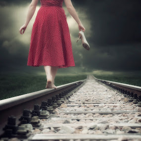 I'm leaving by Joana Kruse - People Fine Art ( haze, shoeless, person, single, barefooted, railways, one, unshod, bare feet, caucasian, anonymous, balance, girl, woman, train, from behind, hazy, alone, lonely, shoe, misty, barefoot, shoes, polka-dotted, polka-dots, track, back, tracks, foggy, red, railway, fog, female, balancing, dress, mist )