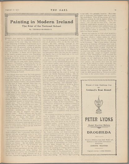 The poet Thomas MacGreevy was also an important writer on the visual arts. Printed just over a month after the ratification of the Anglo-Irish Treaty by the Dáil in 1922, this early article looks forward to the emergence amid Irish independence of 'a genuinely Irish school … if political circumstances allow'.