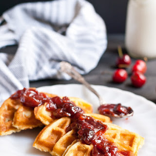 Vanilla Bean Waffles with Cherry Compote