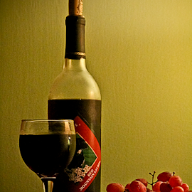 Sweet by Susan Farris - Food & Drink Alcohol & Drinks ( wine, cork, lighting, grapes, saucer, glass, bottle,  )