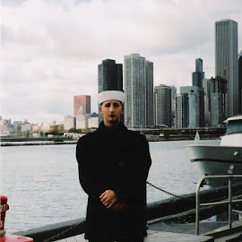 Navy Pier by Sandy Stevens Krassinger - People Portraits of Men ( water, chicago skyline, navy, man, sailor )