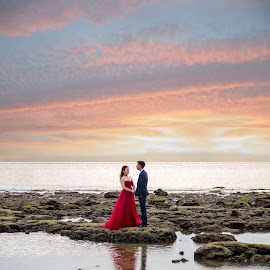 Sunset Bride and Groom by Christa Droste - Wedding Bride & Groom ( #aristephotographers #bride #groom #weddingphotographers #wedding )