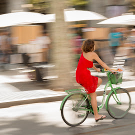 The girl on the bicycle by Liam Coburn Dunne - Transportation Bicycles ( nikon 24-70, panning, greenbicycle, red, girl, nikon d800, ramblas, barcelona, bicycle,  )