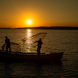 Fishermen by Berrin Aydın - People Professional People ( waiting, sunset, fishing net, sea, fishing boat,  )