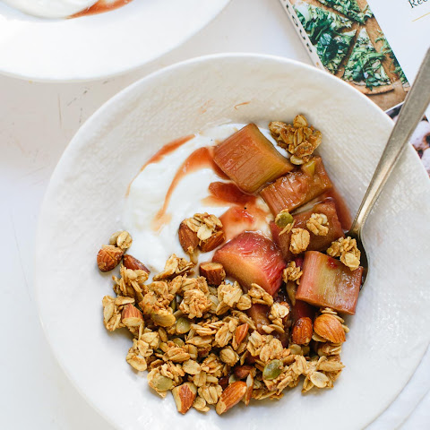 Clumpy Granola with Stewed Rhubarb from Chickpea Flour Does It All