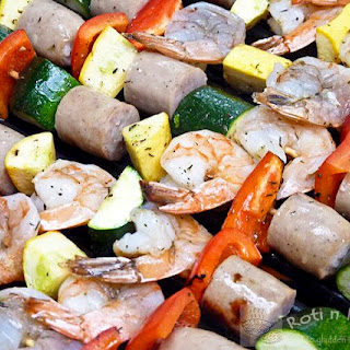 Shrimp, Sausage, and Vegetable Kebabs