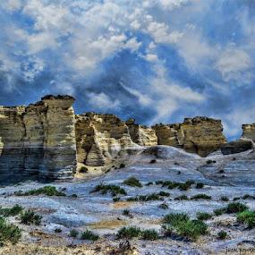 Monument Rocks - Kansas by Jack Powers - Landscapes Mountains & Hills ( mountain, rocks, kansas )