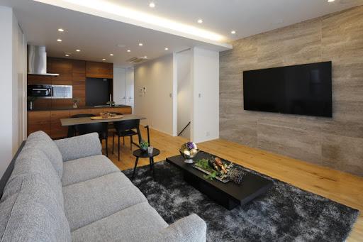 【2階LDK】 約27.2帖の広々としたLDK ※床暖房・ビルトインエアコン・電動シャッター完備