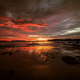 Darkness is Coming by NC Wong - Landscapes Sunsets & Sunrises ( clouds, santubong, sunset, seascape, beach, rocks )