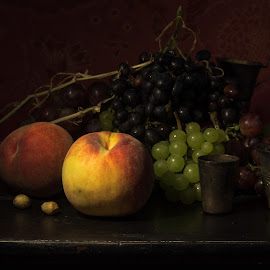 Still life with peaches and grapes by Konstantin Kashin - Artistic Objects Still Life ( stilllife, grapes, stylish, still life, peaches )