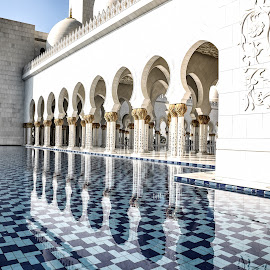 Arches and their reflections in water. by Kumar Gowda - Buildings & Architecture Other Exteriors ( sh. zayed grand mosque, abu dhabi. )