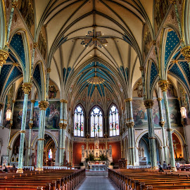 St. John the Baptist by Dawn Coen - Buildings & Architecture Places of Worship ( savannah, interior, catholic, st john the baptist, church, hdr, vivid, architecture, intricate )