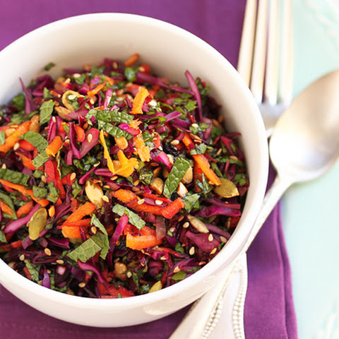 Beet, Red Cabbage & Carrot Salad with Seeds, Currants and Orange Pomegranate Molasses Dressing