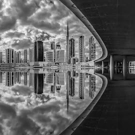B&W HDR Reflection by Mohammed Shamaa - Black & White Buildings & Architecture ( canon, clouds, reflection, b&w, hdr, black and white, architecture, cityscape, burj khalifa, city, urban, towers, dubai, uae, buildings, bridge )