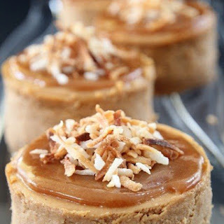 Sweet Potato, Coconut and Caramel Cheesecakes