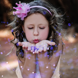 Spreading Magic by Louise Lacante - Babies & Children Child Portraits ( magic, glitter )