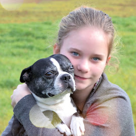 Inseparable by Lena Arkell - Animals - Dogs Portraits ( child, friends, teenager, boston terrier, portrait,  )