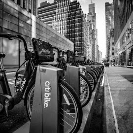 Manhattan Street by Abhishek Parashar - Black & White Objects & Still Life ( citibike, manhattan, 5th avenue, manhattan skyline, bicycles, new york street, new york )