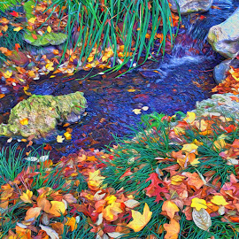 Leaf Falls by Allen Crenshaw - Digital Art Places ( for sale, autumn, art, digital art, display art, leaves, water fall, painting, photography )