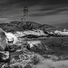 by Stephen Fralick - Black & White Landscapes ( peggy's cove, outdoors, lighthouse, nova scotia )