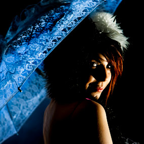 by Relu Jianu - People Portraits of Women ( person, single, female, blue, umbrella, portrait )
