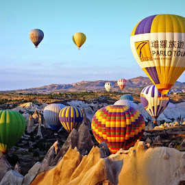 Cappadocia, Turkey by Andie Andros - Transportation Other ( hot air balloon, the viewing deck, turkey, cappadocia )