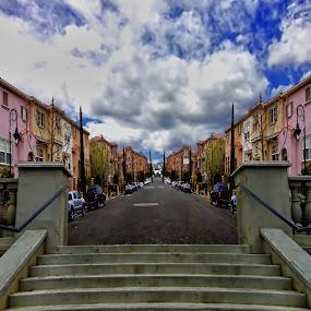 The Road by Rachel Santellano - City,  Street & Park  Neighborhoods ( urban, houses, suburb, street, steps, road )